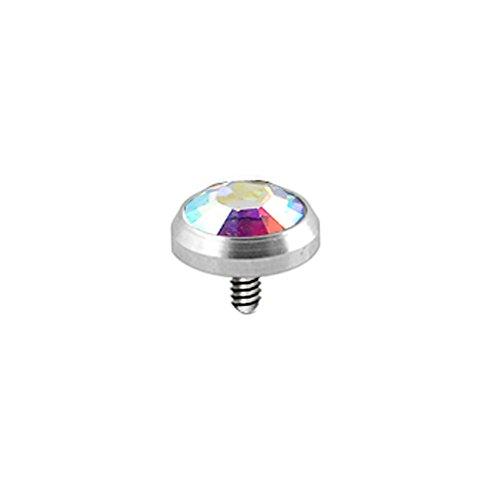 Rainbow 5 MM runder Kristall Stein 316L Chirurgenstahl Gewinde intern Top Micro Dermal Anchor Piercing-Schmuck