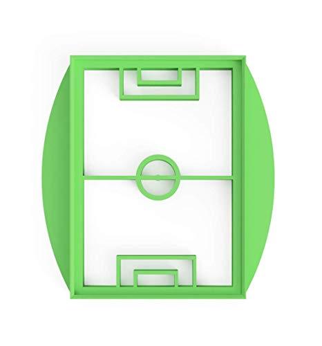 3DREAMS Keksausstecher Fußball Feld Fussball Stadion Rasen Ausstecher inkl. Anleitung und 2 Keksrezepten - aus Bio Kunststoff Made in Germany