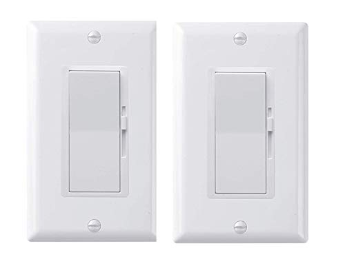 Pack of 2 - QPLUS Universal 3-Way Dimmer Switch for LED/Incandescent/Halogen/CFL Lights (Upto 150W for LED /600W for Traditional Bulbs)