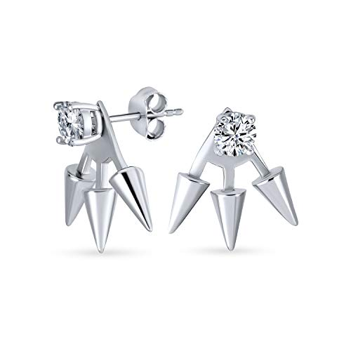 Goth Triple Spike Point Flecha Cubic Zirconia Chaqueta Pendientes para Mujeres 925 Plata esterlina