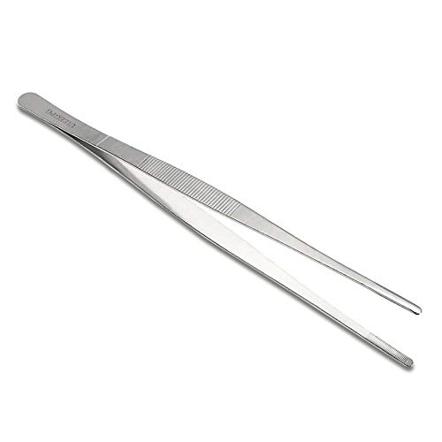 30cm / 12-Inch Long Stainless Steel Food Tongs Straight Tweezers Kitchen Tool