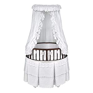 Elite Oval Wooden Baby Bassinet with Bedding, Canopy, and Storage