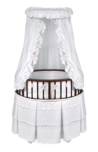 Elite Oval Wooden Baby Bassinet with Bedding, Canopy, Storage