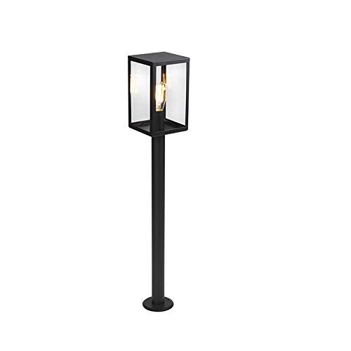 QAZQA Moderno Baliza moderna negra vidrio 100.5cm IP44- ROTTERDAM/Alargada/Rectangular Adecuado para LED...