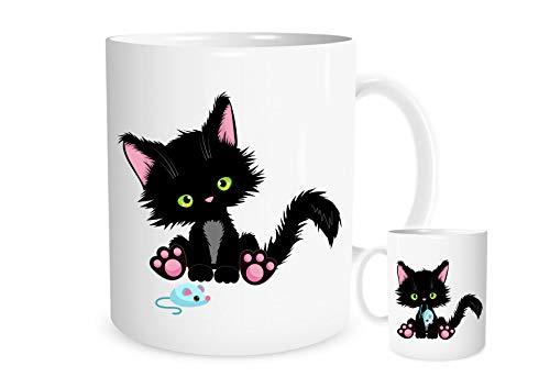 11OZ schattige zwarte kat spelen met een muis mok, een prachtig cadeau perfect voor een verjaardag of Kerstmis gratis P&P