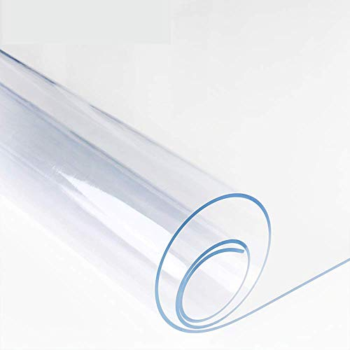 Bove Protezione per Tavolo in Cristallo Trasparente per PC Protezione per Tavolo in plastica Impermeabile per tavolino Supporto per Tavolo in vinile-1mm-90x160cm(35x63pollice)