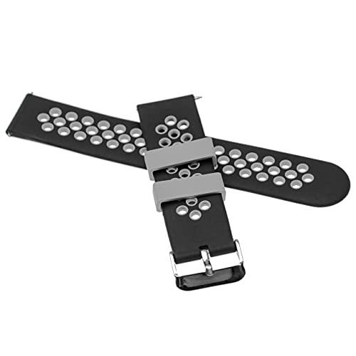 vhbw Ersatz Armband kompatibel mit Fitbit Versa 2, Blaze, Lite Fitnessuhr, Smartwatch - 12,9 + 8,7 cm Silikon schwarz/grau