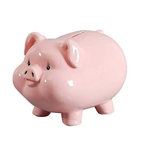 Hucha De Cerámica para Adultos, Cerdo para Niños, Linda Chica, Moneda, Banco De Dinero, Rosa, Rompe La Caja De Efectivo, 7/9/11/13/15' 0421C(Size:9',Color:Puerto de retiro)
