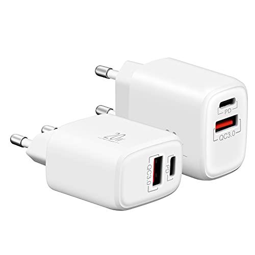 Cargador USB C LUOSIKE (2 Piezas), Cargador Rápido iPhone 12, Enchufe Adaptador de Corriente de 20W con Tipo C y A, Compatible con iPhone 12/11/Pro MAX/XS/SE 2020/mini, Samsung S21 y Más