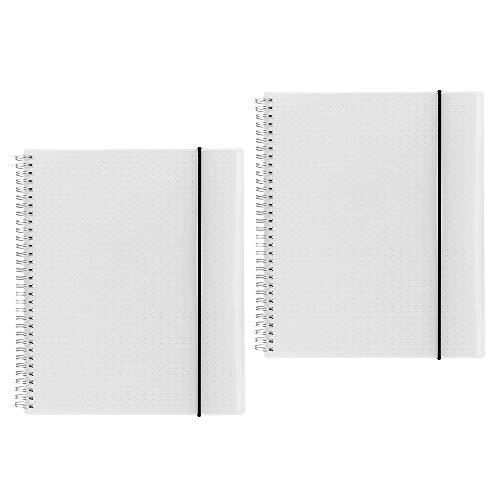 Shulaner Notebook A4 Dotted Spiral Notitieboek 80 vellen Frosted PP Cover Draadgebonden Notitieblok met Elastische Riem Set van 2 - Dotted
