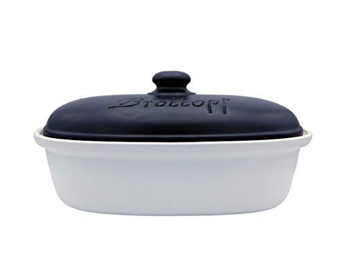 LISINA Keramik & Design - Keramik Brottopf L 34 x 22 x 17 cm (weiß/schwarz)