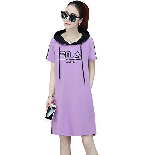 BINGQZ Cocktail Jurken Lente en zomer jurk vrouwelijke temperament lange hooded trui losse T-shirt rok