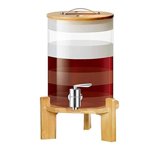 Tcbz Decantador de Barril de Whisky, Barril de Vino de Vidrio, con Marco y Tapa de Madera, 8500 ml, Grifo de núcleo de cerámica Mejorado, Resistencia a Altas temperaturas, para Vino Tinto Vodka
