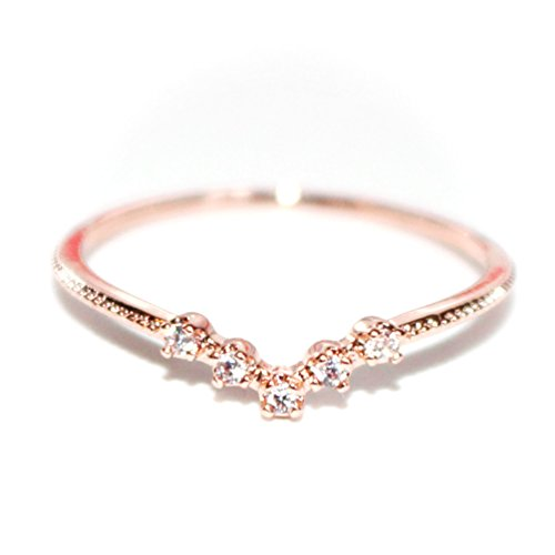 Gieschen Jewelers -Crystal V- 18K Rose Gold-Plated CZ Crystal Dainty Ring, Size 6