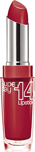 Maybelline New York Make-Up Lippenstift Superstay 14h Lipstick Non-Stop Red / Sattes Rot mit 14...