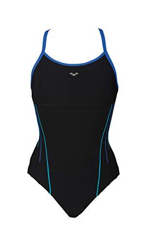 ARENA W Zircon Flow Back, Costume Bodylift Donna, Nero (Nero/Bright Blue/Persian Gree), 48 IT
