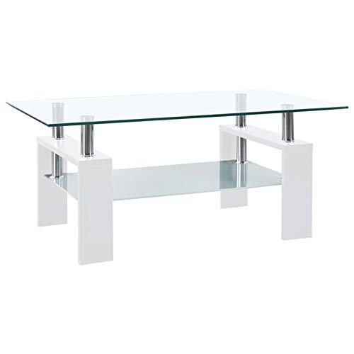 Festnight Table Basse en Verre Table de Salon Table d'appoint Blanc 95x55x40 cm