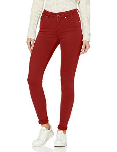 ONLY Damen ONLBLUSH MID SK COL NOOS Skinny Jeans, Rot (Merlot Merlot), 34/L32 (Herstellergröße: XS)