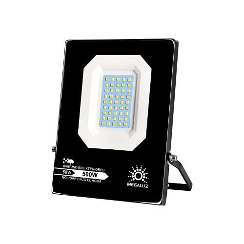 50W Reflector LED Lampara Exterior Tianlai R13W50S07, Equivalente a 500W, Luminaria Luz Exterior IP 65 Resistencia a Climas Húmedos, Iluminación De 4500 LM, Lámpara Suburbana...