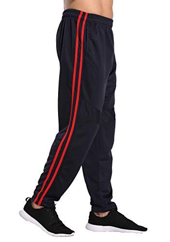 FITTOO Pantalones Deportivos para Hombre Mallas de Fitness Elásticos y Transpirables #3 Rojo Linea 2X Grande