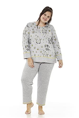 Mabel Intima Pijama Talla Grande Mujer Pijama Manga Larga y pantalón Largo. Gris y Estampado My Star Talla 50. 95% poliéster-5% Spandex. Tejido Medio, cálido y Suave
