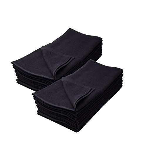 Asciugamano da parrucchiere, confezione da 12, colore nero, 100% cotone, Cotone, Nero , 50x90