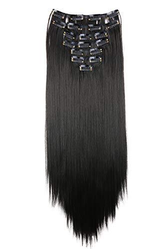 PRETTYSHOP XXL 60cm 8 Teile Set CLIP IN EXTENSIONS Haarverlängerung Haarteil Voluminös Glatt Natur Schwarz CES26
