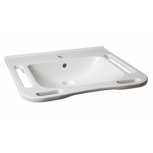KIBOMED GTM-602 Waschbecken weiß mit Überlauf-Schutz ohne Armatur | 600x555 mm | frontale Griffkante + seitliche Handtuchhalter | seniorengerecht | Rollstuhl unterfahrbar