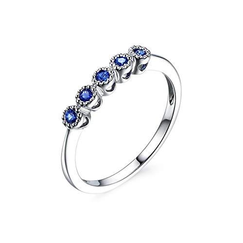 Cenliva Gem Rings for Women, 18K Gold 0.21ct Diamond Accented Sapphire VVS1-VVS2 Ring Size T 1/2