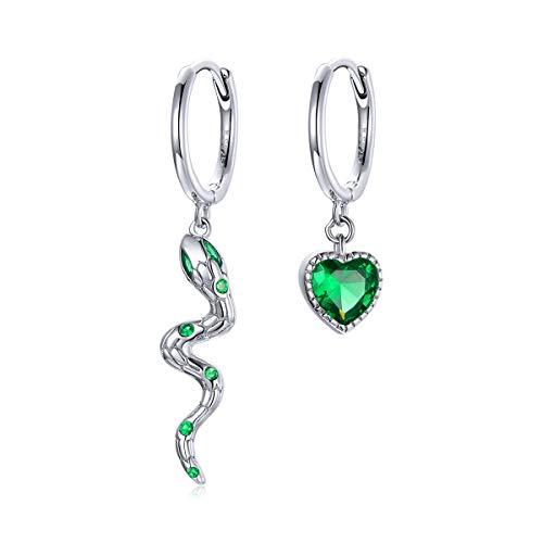 GDDX pendientes de aro con forma de serpiente pendientes de plata de ley con de animales personalizados regalos de cumpleaños para mujeres (pendientes de serpiente)