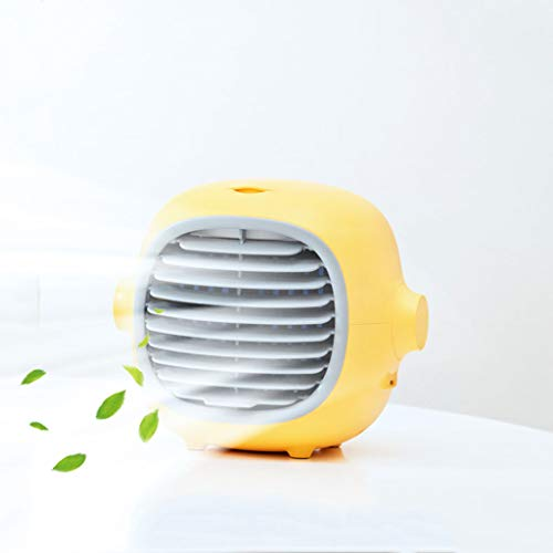 Mini draagbare airconditioning, persoonlijke ruimte mobiele luchtkoeler, 3 in 1 USB stille desktop koelventilator en luchtbevochtiger, luchtreiniger voor thuis, kamer, kantoor,Yellow