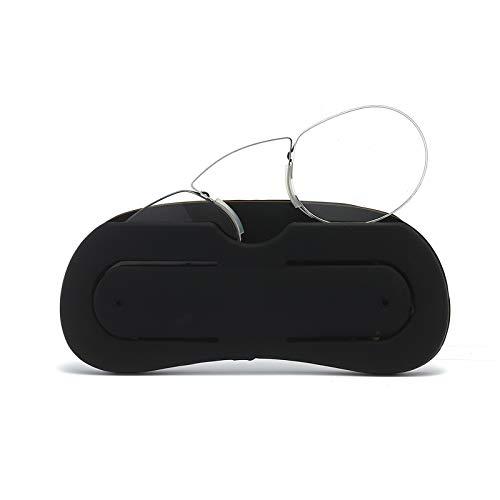 Lesebrille Nasenstütze Kneifen Ultraleichtes Vision Mini Tragbare Männer und Frauen mit Brillenetui(Schwarz,+1.0)