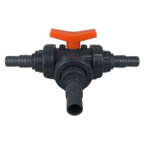 well2wellness® PVC 3-Wege Kugelhahn mit Schlauchtüllen 32-38mm | T-Bohrung