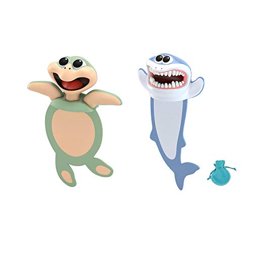 3D Animal Bookmarks, YicUik 2 Pieces Cartoon Bookmarks with Velvet Bag for Kids and Students Birthday Party Favors for Boys Girls School Stationery Supplies Kids Gift (Turtle and Shark)