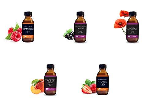 Lot de 5 aromes naturels : coquelicot - fraise - cassis - framboise - peche jaune