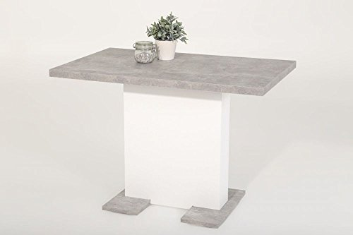 moebel-store24 Esstisch Säulentisch BREH ausziehbar in Betonoptik/Weiß