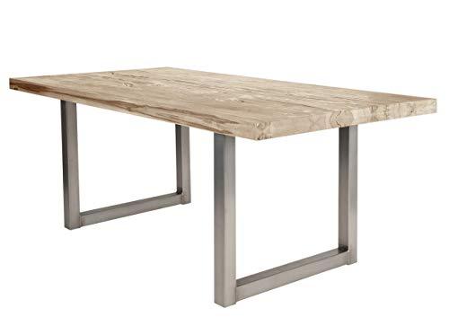 Sit Möbel Tische Tisch 240x100 cm, Balkeneiche White-wash Platte Balkeneiche, Gestell Eisen L = 240 x B = 100 x H = 76 cm Platte White-wash, Gestell antiksilbern