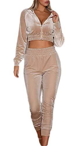 Vrouwen Jumpsuit Velvet Tracksuit 2 Stuk Outfits Crop Top Legging Broek Set