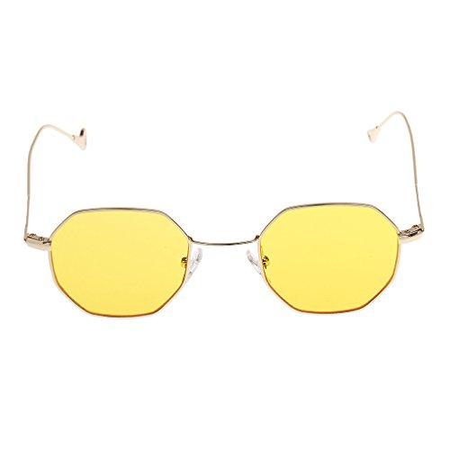 yotijar Gafas de Sol Octágono para Mujer para Hombre, Montura Metálica, Lentes de Espejo Retro, Gafas - Amarillo