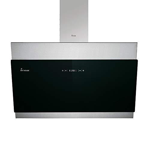 Kopffreie Dunstabzugshaube, Wandhaube (90cm, Edelstahl, Schwarzes Glas, Extra-leise, LED-Beleuchtung, 4 Stufen, Touchsteuerung, Nachlaufautomatik) BICOLORE906S - KKT KOLBE