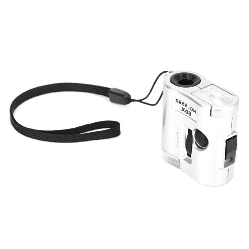Lupa de bolsillo, lupa de mano de 1,6 x 1,6 x 0,8 pulgadas, lupa LED, lupa portátil con luces LED para joyería, laboratorio