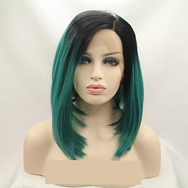 Synthétique dentelle avant perruques femmes's Loose CURL noir Layered coupe 130% densité cheveux synthétiques 12 pouces femmes vert perruque longue dentelle avant