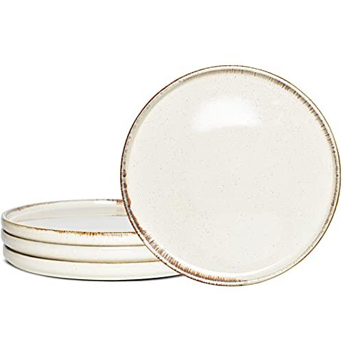 Bosmarlin Stoneware Dinner Plates, Set of 4 for Salad, Pasta, Dessert, Microwave and Dishwasher Safe (Beige, 8.2 in)