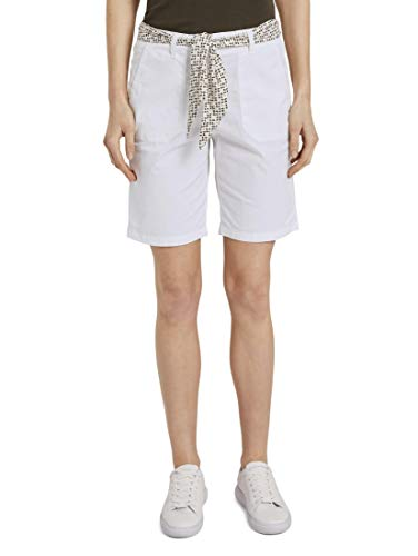 TOM TAILOR Damen Hosen & Chino Chino Relaxed Bermuda-Shorts mit Bindegürtel White,44