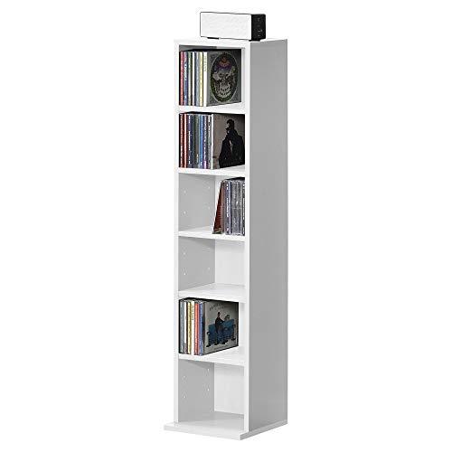[en.casa] Bücherregal CD Regal Standregal Regal Aufbewahrung 6 Fächer Weiß