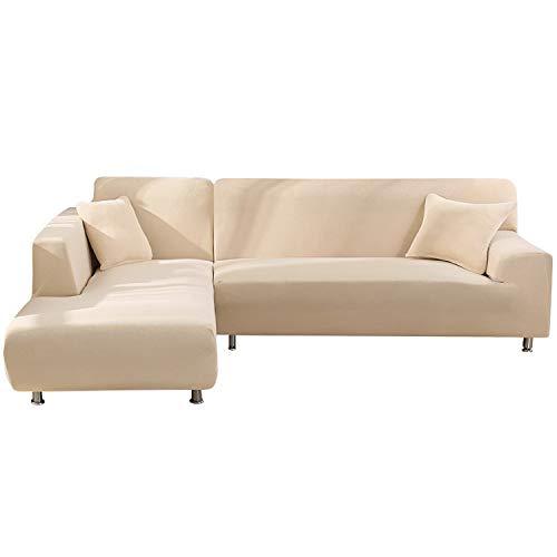 NIBESSER Sofabezug Sofaüberwürfe für L-Form Sofa elastische Stretch Sofabezug Sofa Überzug(2 Sitzer+2 Sitzer,Beige)