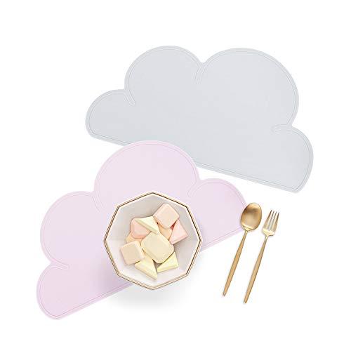 GoMaihe Tischset Kinder 2 STK, Wolkenformiges Platzset/Abwaschbare Silikonmatten/rutschfeste Platzdecken, Grau und Rosa(47.5 × 27cm), MEHRWEG