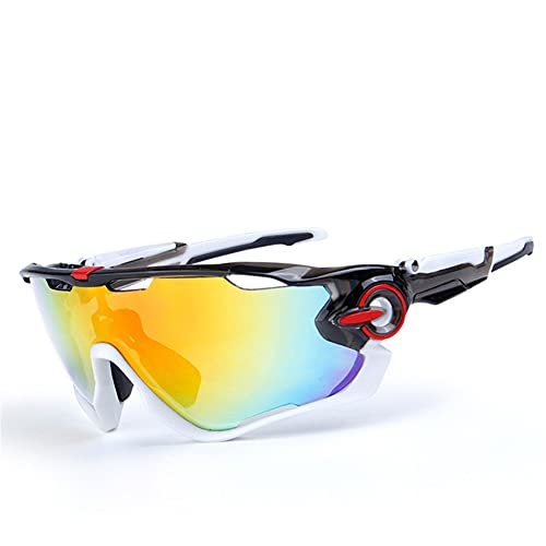 ERWEI Gafas de Sol Deportivas, Gafas de Sol Deportivas de Ciclismo polarizado para Hombres Mujeres con 5 lenos Intercambiables para Correr la conducción de Golf de béisbol,F