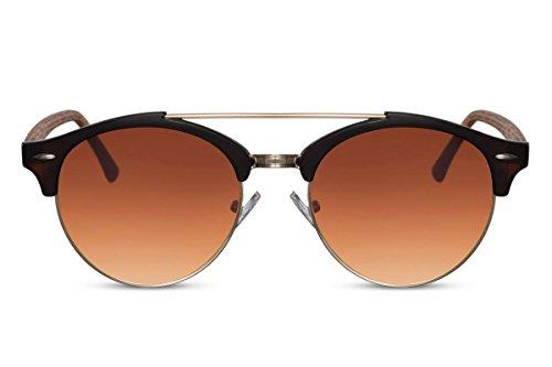 Cheapass Gafas de Sol Redondas Marrones Estampado Madera UV400 Diseño Retro Gafas Verano Accesorios Plásticas Mujeres Hombres