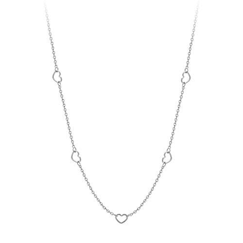 555Jewelry - Collar de Cadena de Acero Inoxidable para Mujer, diseño de corazón